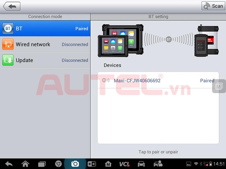 VCI J2534 kết nối Bluetooth hoặc USB