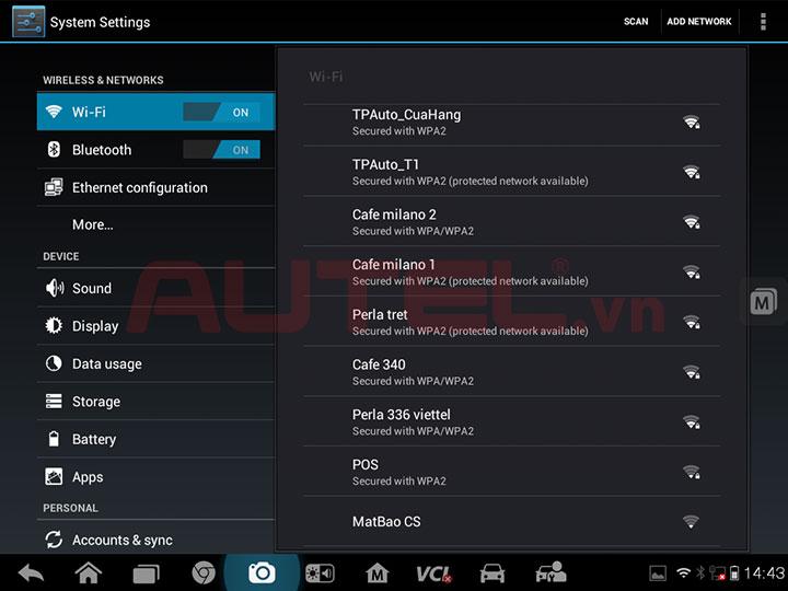 Giao diện cài đặt kết nối wifi trên máy MaxiSys Pro MS908P