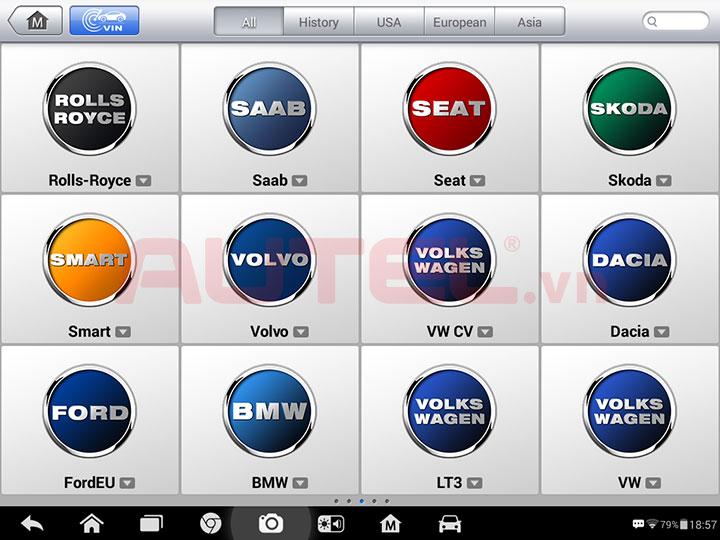 Autel MaxiSys MS906 chẩn đoán các hãng xe