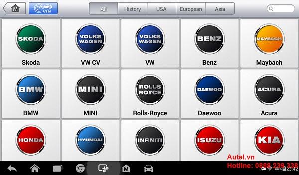 Autel MaxiDAS DS808 hỗ trợ các hãng xe