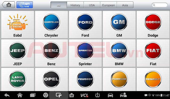 Autel MaxiTPMS TS608 hỗ trợ các hãng xe