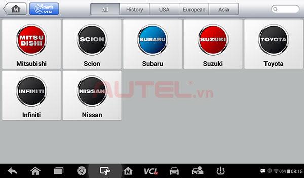 Autel MaxiCheck MX808TS chẩn đoán các hãng xe
