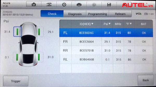 cảm biến áp suất lốp xe Acura ZDX