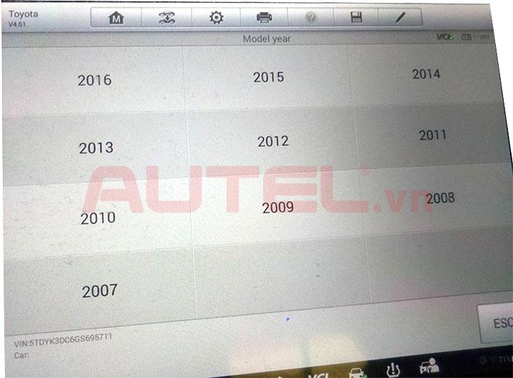 Cài đặt cảm biến áp suất lốp Toyota Sienna 2016