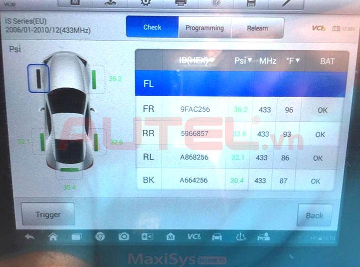 Autel MaxiSys MS906TS cài đặt áp suất lốp Lexus LS460h
