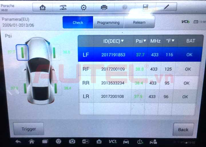 cảm biến áp suất lốp Porsche Panamera