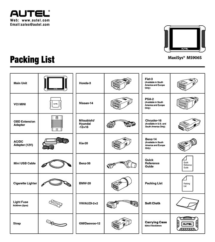 packing list autel ms906s